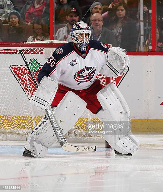 Curtis McElhinney of the Columbus Blue Jackets guards his net against the Ottawa Senators at Canadian Tire Centre on February 7 2015 in Ottawa...