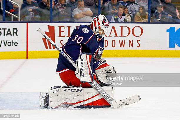 Curtis McElhinney of the Columbus Blue Jackets makes a save during the game against the Los Angeles Kings on December 20 2016 at Nationwide Arena in...