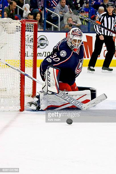 Curtis McElhinney of the Columbus Blue Jackets makes a save during the game against the New York Rangers on January 7 2017 at Nationwide Arena in...