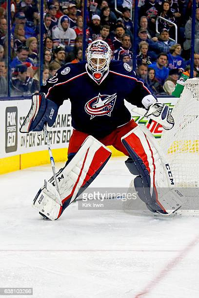 Curtis McElhinney of the Columbus Blue Jackets skates back to the net during the game against the New York Rangers on January 7 2017 at Nationwide...