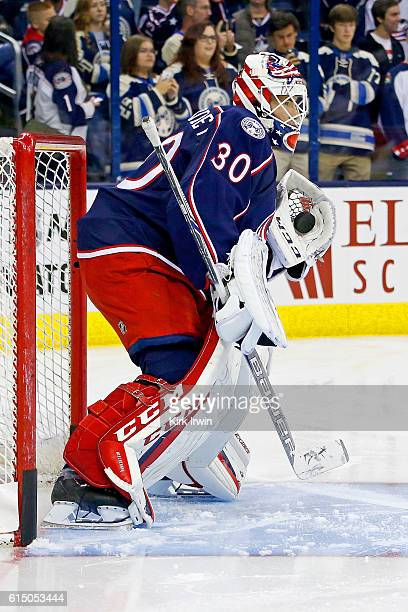 Curtis McElhinney of the Columbus Blue Jackets warms up prior to the start of the game against the Boston Bruins on October 13 2016 at Nationwide...