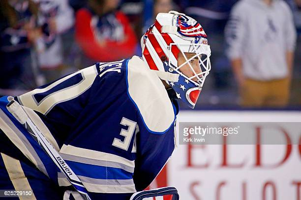 Curtis McElhinney of the Columbus Blue Jackets warms up prior to the start of the game against the New York Rangers on November 18 2016 at Nationwide...