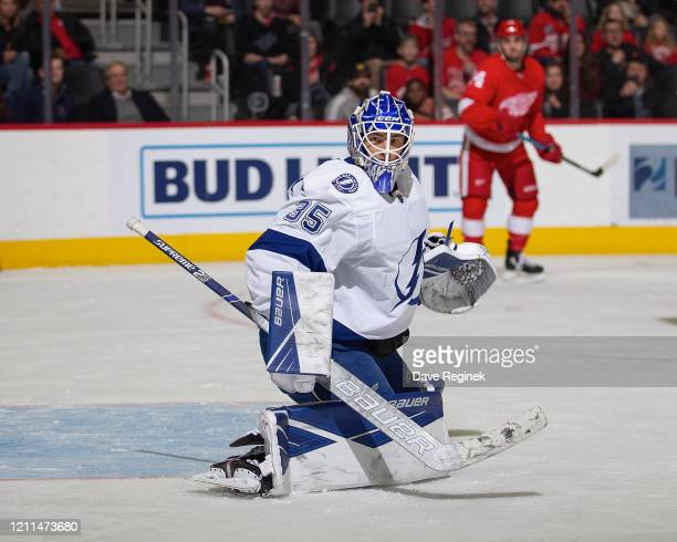 Curtis McElhinney of the Tampa Bay Lightning reacts to a shot against the Detroit Red Wings during an NHL game at Little Caesars Arena on March 8,...