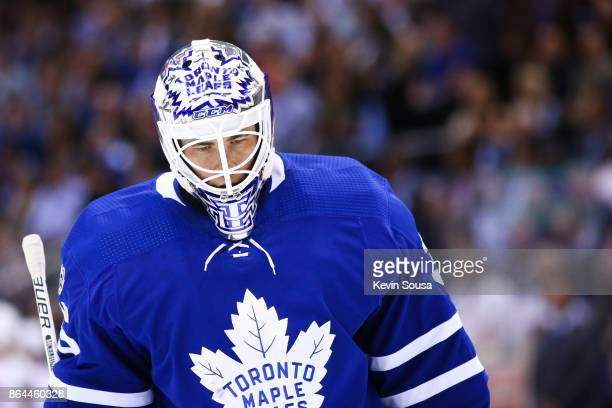 Curtis McElhinney of the Toronto Maple Leafs during the first period at an NHL game against the Detroit Red Wings at the Air Canada Centre on October...