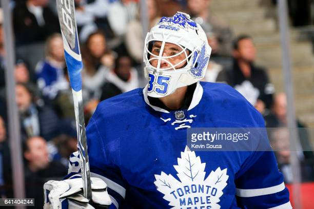 Curtis McElhinney of the Toronto Maple Leafs during the second period at an NHL game against the Dallas Stars at the Air Canada Centre on February 7...