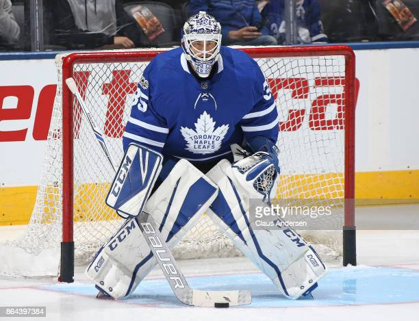 Curtis Mcelhinney of the Toronto Maple Leafs faces a shot during the warmup prior to playing against the Detroit Red Wings in an NHL game at the Air...