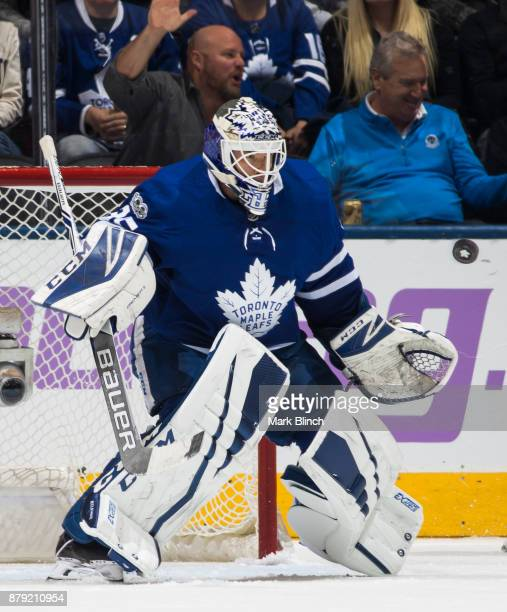 Curtis McElhinney of the Toronto Maple Leafs follows the puck during the third period of play against the Washington Capitals at the Air Canada...