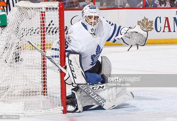 Curtis McElhinney of the Toronto Maple Leafs guards his net against the Ottawa Senators at Canadian Tire Centre on January 14 2017 in Ottawa Ontario...