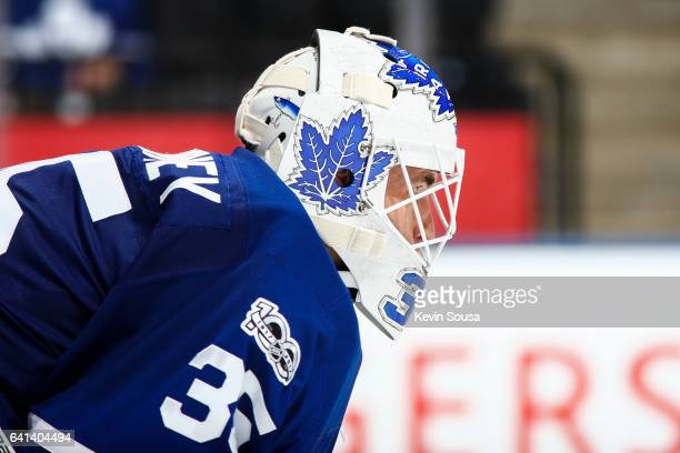 Curtis McElhinney of the Toronto Maple Leafs looks down the ice against the Dallas Stars during the third period at the Air Canada Centre on February...