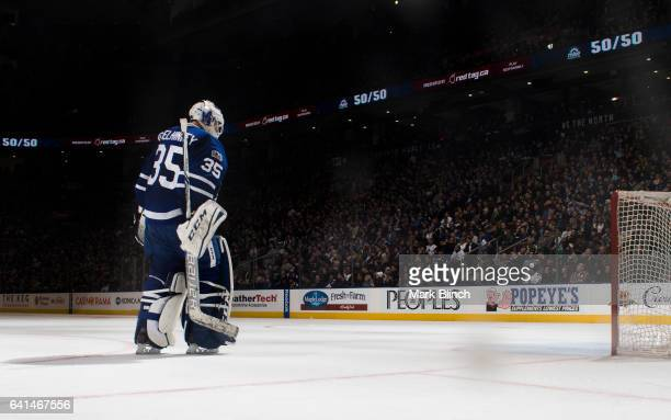 Curtis McElhinney of the Toronto Maple Leafs skates back to the net in a break agains the Dallas Stars during the second period at the Air Canada...