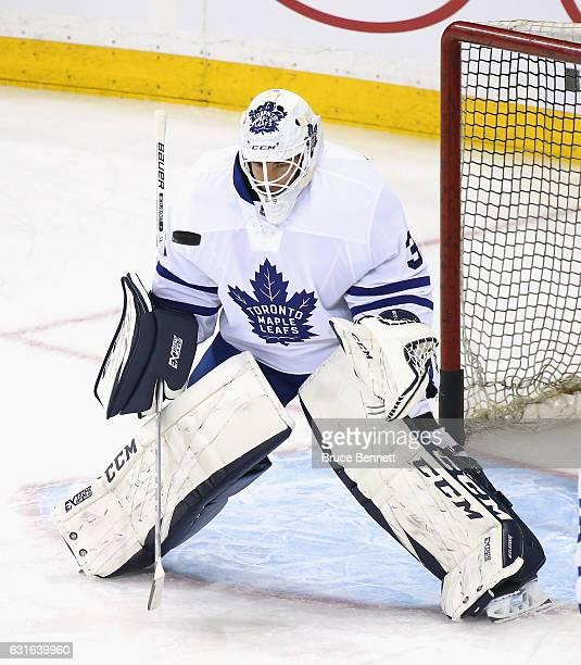 Curtis McElhinney of the Toronto Maple Leafs skates in warmups prior to the game against the New York Rangers at Madison Square Garden on January 13...