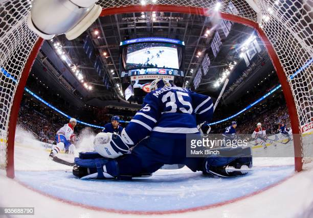 Curtis McElhinney of the Toronto Maple Leafs stretches out in net against the Montreal Canadiens during the second period at the Air Canada Centre on...