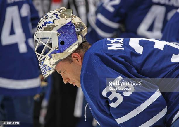 Curtis McElhinney of the Toronto Maple Leafs takes a breather against the Montreal Canadiens during an NHL game at the Air Canada Centre on March 17...
