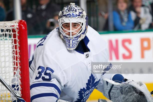 Curtis McElhinney of the Toronto Maple Leafs tends goal against the Dallas Stars at the American Airlines Center on January 25 2018 in Dallas Texas