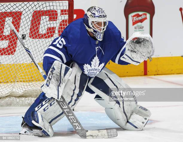 Curtis McElhinney of the Toronto Maple Leafs warms up prior to action against the Buffalo Sabres in an NHL game at the Air Canada Centre on April 2...