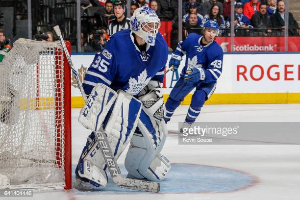 Curtis McElhinney of the Toronto Maple Leafs watches the puck during the third period against the at the Air Canada Centre on February 7 2017 in...
