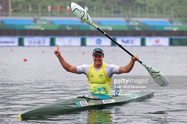 Curtis McGrath of Team Australia celebrates winning the Gold Medal after he competes in the Canoe Sprint - Men's Kayak Single 200m Final on day 10 of...