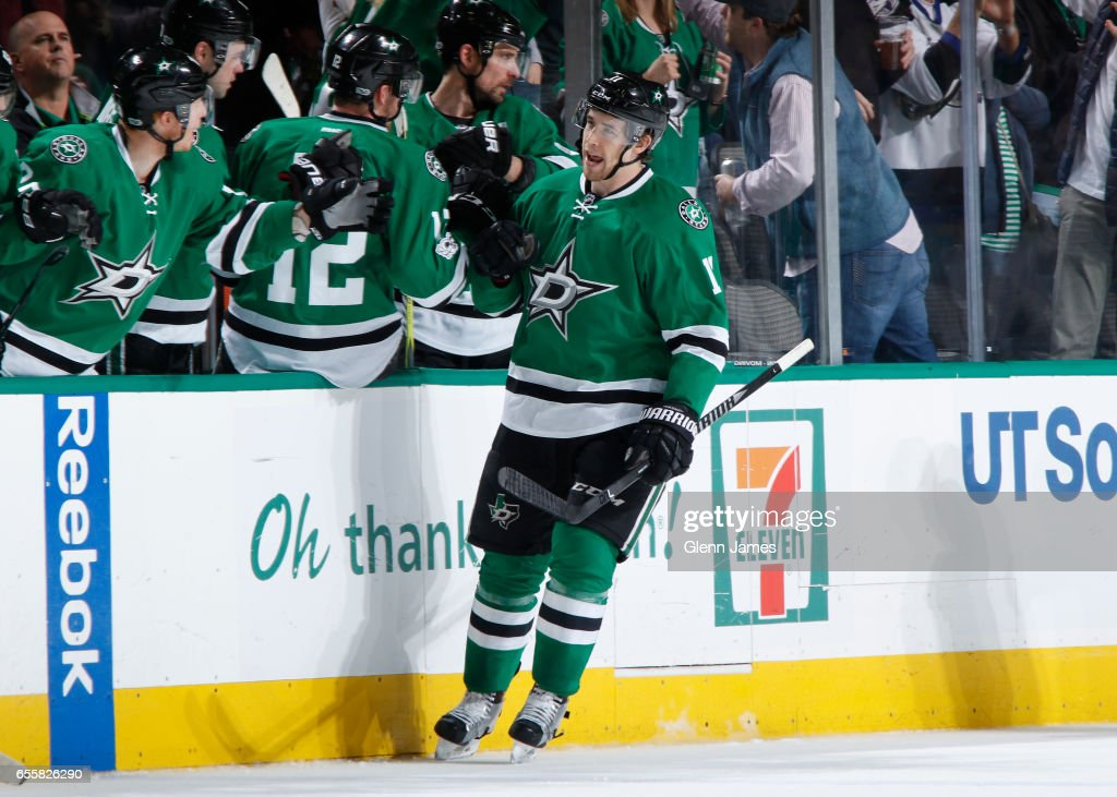Curtis McKenzie #11 of the Dallas Stars celebrates a goal against the San Jose Sharks at the American Airlines Center on March 20, 2017 in Dallas, Texas.