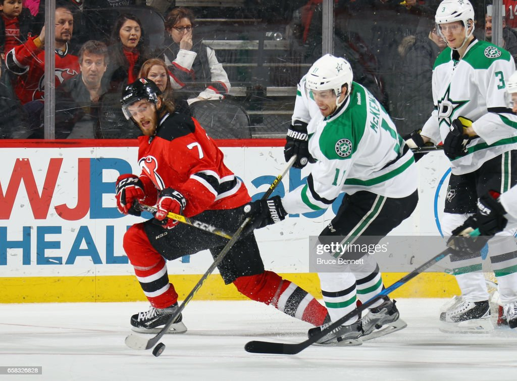 Curtis McKenzie #11 of the Dallas Stars skates against the New Jersey Devils at the Prudential Center on March 26, 2017 in Newark, New Jersey.