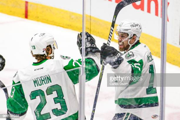 TORONTO ON JUNE 2 Curtis McKenzie of the Stars celebrates his goal with Travis Morin during the 1st period of the Calder Cup Finals game 1 as the...