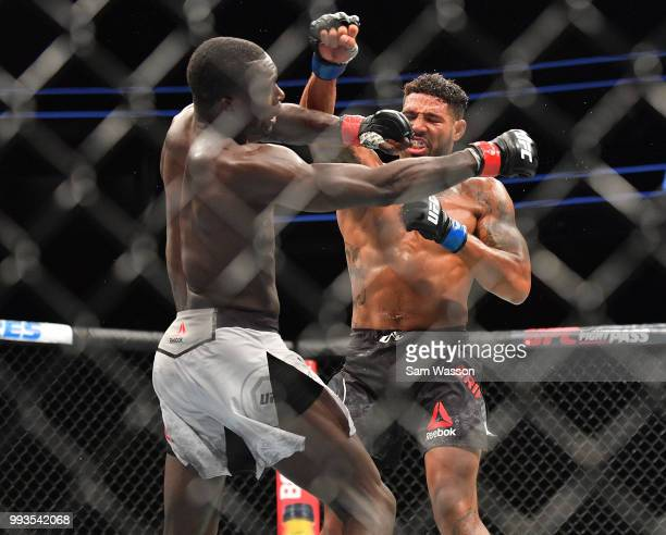Curtis Millender and Max Griffin trade punches during their welterweight fight at TMobile Arena on July 7 2018 in Las Vegas Nevada Millender won by...