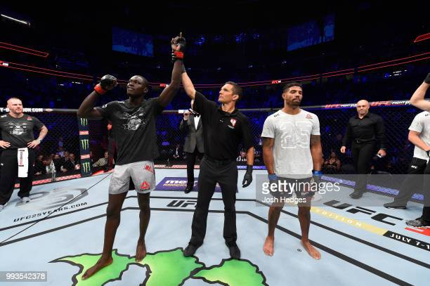 Curtis Millender celebrates his win over Max Griffin in their welterweight fight during the UFC 226 event inside TMobile Arena on July 7 2018 in Las...