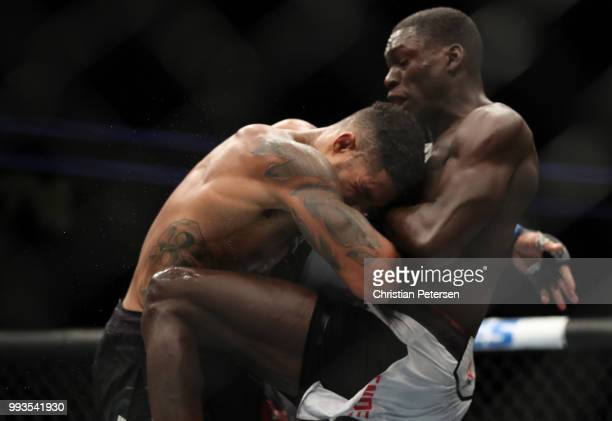 Curtis Millender grapples against Max Griffin in their welterweight fight during the UFC 226 event inside TMobile Arena on July 7 2018 in Las Vegas...
