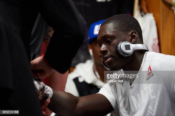 Curtis Millender has his hands wrapped before fighting Thiago Alves during the UFC Fight Night event at Frank Erwin Center on February 18 2018 in...