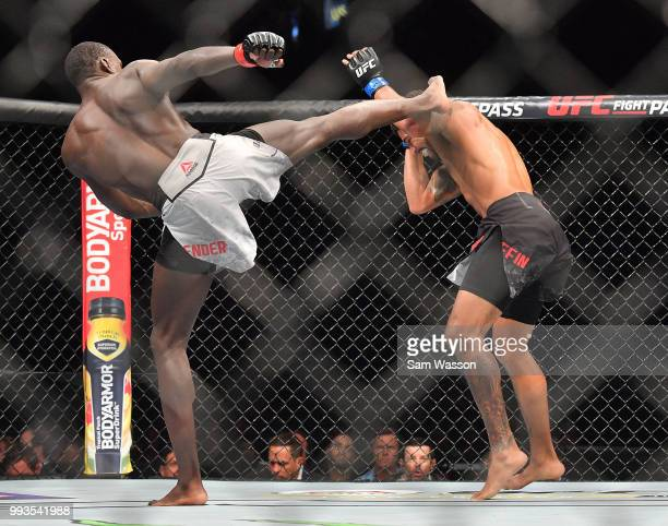 Curtis Millender kicks Max Griffin during their welterweight fight at TMobile Arena on July 7 2018 in Las Vegas Nevada Millender won by unanimous...