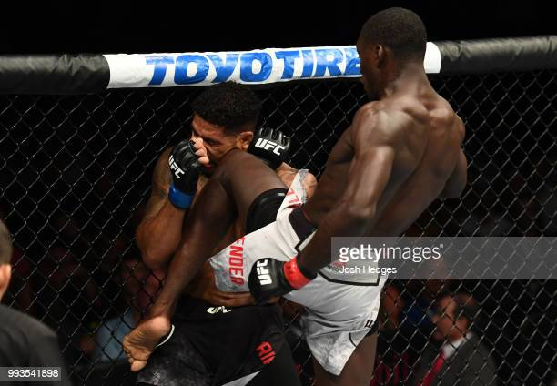 Curtis Millender knees Max Griffin in their welterweight fight during the UFC 226 event inside TMobile Arena on July 7 2018 in Las Vegas Nevada