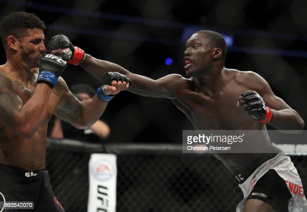 Curtis Millender punches Max Griffin in their welterweight fight during the UFC 226 event inside TMobile Arena on July 7 2018 in Las Vegas Nevada