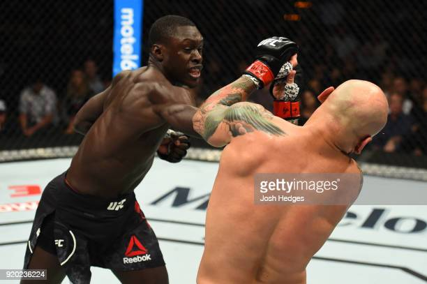Curtis Millender punches Thiago Alves of Brazil in their welterweight bout during the UFC Fight Night event at Frank Erwin Center on February 18 2018...