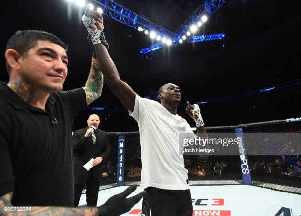Curtis Millender reacts after defeating Thiago Alves of Brazil in their welterweight bout during the UFC Fight Night event at Frank Erwin Center on...