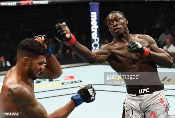 Curtis Millender swings at Max Griffin in their welterweight fight during the UFC 226 event inside TMobile Arena on July 7 2018 in Las Vegas Nevada