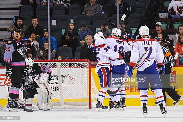 Curtis Miske of the Spokane Chiefs celebrates with his teammates after scoring against the Calgary Hitmen during a WHL game at Scotiabank Saddledome...