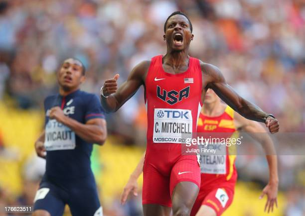 Curtis Mitchell of the United States reacts at the finish line in the Men's 200 metres semi finals during Day Seven of the 14th IAAF World Athletics...