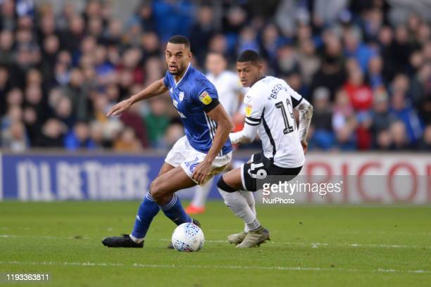 Curtis Nelson of Cardiff City and Rhian Brewster of Swansea City during the Sky Bet Championship match between Cardiff City and Swansea City at...