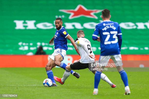Curtis Nelson of Cardiff City FC and George Hirst of Rotherham United during the Sky Bet Championship match between Cardiff City and Rotherham United...