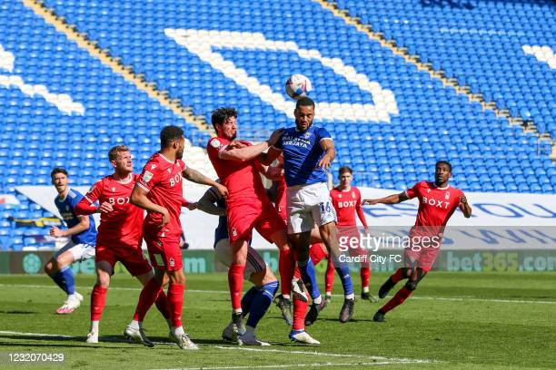 Curtis Nelson of Cardiff City FC and Scott McKenna of Nottingham Forest during the Sky Bet Championship match between Cardiff City and Nottingham...