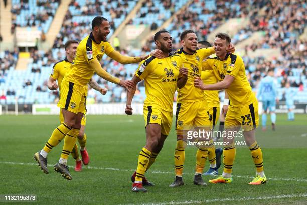 Curtis Nelson of Oxford United celebrates after scoring a goal to make it 10 during the Sky Bet League One match between Coventry City and Oxford...