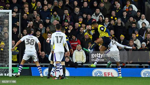 Curtis Nelson of Oxford United heads to score his side's second goal with his team mates during the Emirates FA Cup Fourth Round match between Oxford...