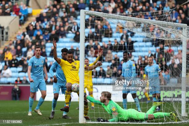 Curtis Nelson of Oxford United scores a goal to make it 10 during the Sky Bet League One match between Coventry City and Oxford United at The Ricoh...