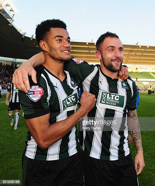 Curtis Nelson of Plymouth Argyle celebrates with Peter Hartley of Plymouth Argyle during the Sky Bet League Two Play Offs Second Leg match between...