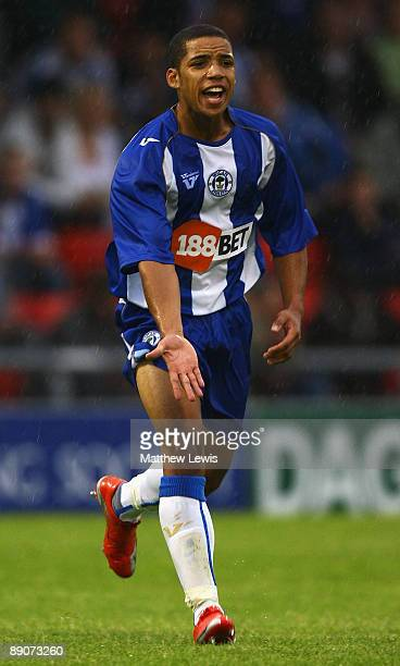 Curtis Obeng of Wigan Athletic during the Pre Season Friendly match between Crewe Alexander and Wigan Athletic at Gresty Road on July 16 2009 in...