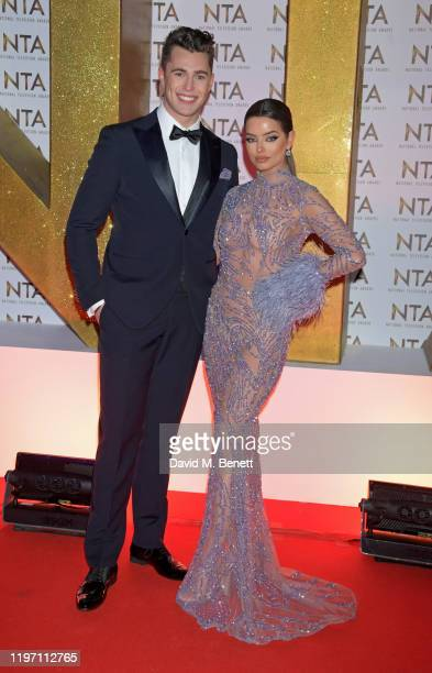 Curtis Pritchard and Maura Higgins attend the National Television Awards 2020 at The O2 Arena on January 28, 2020 in London, England.