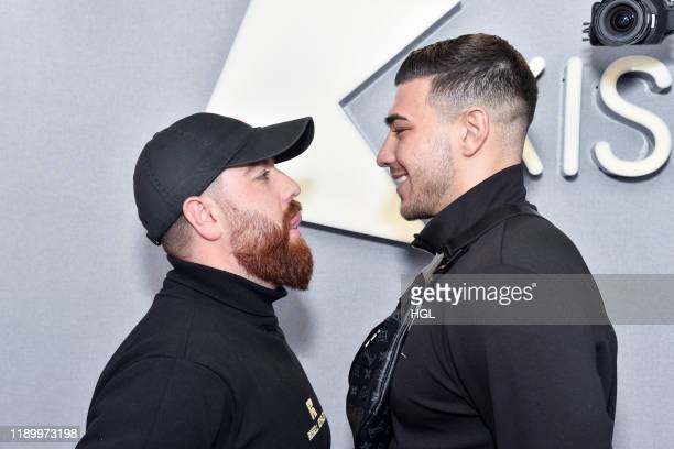 Curtis Pritchard and Tommy Fury visit Tom Green and Daisy Maskell at the Kiss FM Studio's on November 25 2019 in London England