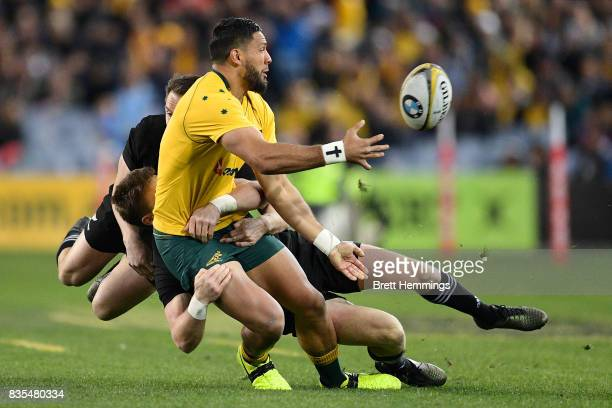 Curtis Rona of Australia is tackled during The Rugby Championship Bledisloe Cup match between the Australian Wallabies and the New Zealand All Blacks...