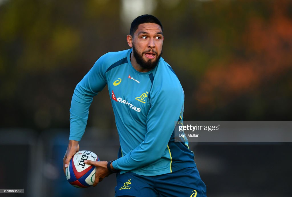 Curtis Rona of Australia looks for a pass during a training session at the Lensbury Hotel on November 13, 2017 in London, England.