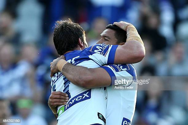 Curtis Rona of the Bulldogs celebrates a try during the round 23 NRL match between the Canterbury Bulldogs and the Gold Coast Titans at Central Coast...