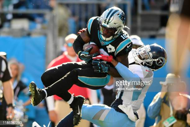Curtis Samuel of the Carolina Panthers catches a touchdown pass in the second quarter during their game against the Tennessee Titans at Bank of...
